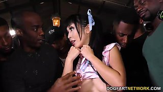 Petite Asian student is fucked hard by several black men
