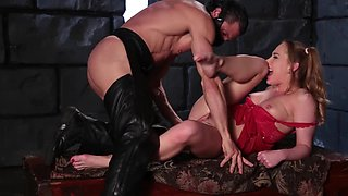 Lucky female in red dress has her own sex slave for fun