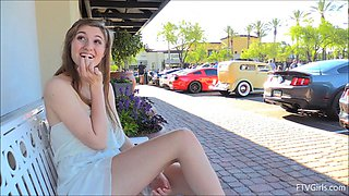 Beauty in a dress and heels gets excited flashing in public