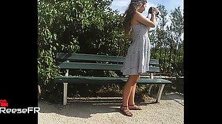 Sexy slender French teen with a heart-shaped ass upskirt