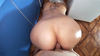 Mom anal sex with stepson in the kitchen