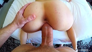 Sexy brunette in a bikini gets penetrated by a dude's thick cock