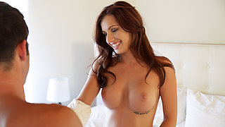 Perfect beauty brunette Mary Jane Johnson reveals her full tits and bald pussy