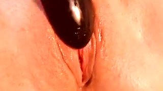 Close up of hot pink wet pussy and clit