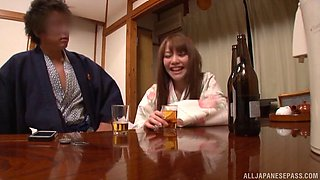 Passionate fucking in the evening with a sexy Japanese wife