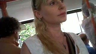 Just a cute random blonde lady on the bus filmed on voyeur vid