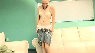 Cute teenage babe shows her tight panties and flashes her pink cunt