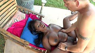 Big natural boobs black girl riding white cock outdoors