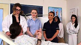 Kinky cfnm nurses stroking