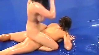 Nude Oil wrestling Timea vs Linda