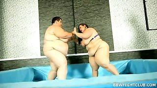 Extremely fat lades wrestling