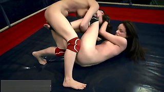 Athletic Babe Strapon Fucked After Wrestling