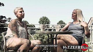 HITZEFREI Tattooed German lesbians anal fun with toys